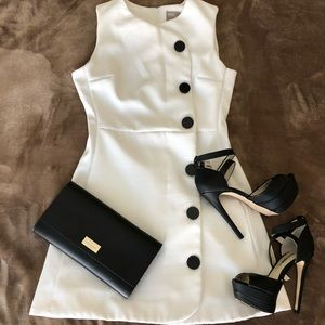 White dress, 70s mod inspired with black buttons